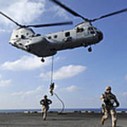 Marines Fast Rope From A Ch-46e Sea Poster