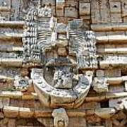 Mayan Architectural Details At Uxmal Mexico Poster