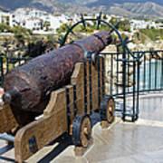 Medieval Cannon At The Balcon De Europa Poster
