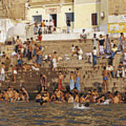 Men And Boys Bathe At An Ancient Ghat Poster