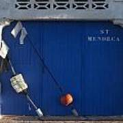 menorca st - A warehouse door in Es Castell Menorca ready to keep local tradicional boats llauts Poster