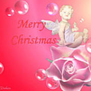 Merry Christmas Cherub And Rose Poster