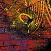 Metal Sculpture Against A Brick Wall Poster
