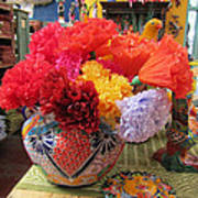Mexican Paper Flowers And Talavera Pottery Poster