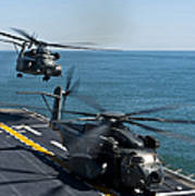 Mh-53e Sea Dragon Helicopters Take Poster