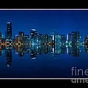 Miami Skyline Night Panorama Poster