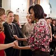 Michelle Obama Greets Actress Hilary Poster by Everett