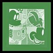 Mickey In Negative Olive Green Poster