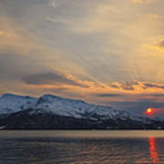 Midnight Sun Over Tjeldsundet Strait Poster