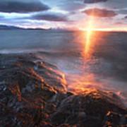 Midnight Sun Over Vågsfjorden Poster