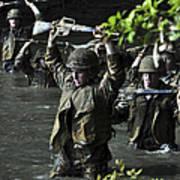 Midshipmen Cross A Creek During Sea Poster