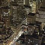 Midtown Manhattan Illuminated At Night Poster
