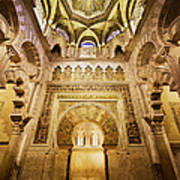 Mihrab And Ceiling Of Mezquita In Cordoba Poster