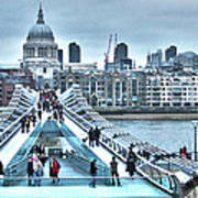 Millennium Bridge And St Paul's Cathedral Poster