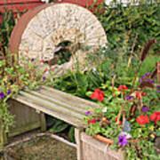 Milling Stone Flower Garden Poster
