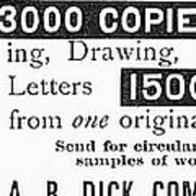 Mimeograph Ad, 1890 Poster