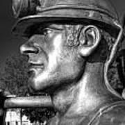 Miner Statue Monochrome Poster