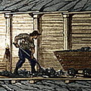 Miners In A Timbered Tunnel Poster
