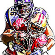 Minnesota Vikings Antoine Winfield  San Francisco 49ers Ted Ginn Jr  Poster by Jack K