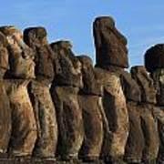 Moai Along The Coast Of Easter Island Poster