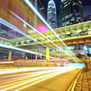 Modern City At Night Poster by Leung Cho Pan