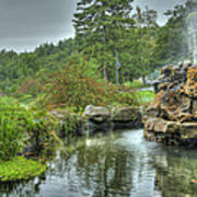 Mohonk Koi Pond On A Rainy Day Poster