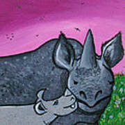 Momma And Baby Rhino Poster