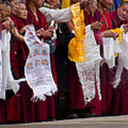 Monks Wait For The Dalai Lama Poster