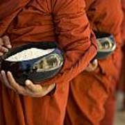Monks With Rice Bowls, Inle Lake Poster