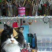 Moo Shu Cat On My Desk Poster by Kristi L Randall