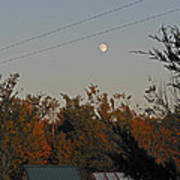 Moon Over Autumn Sheds Poster
