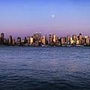 Moon Over Midtown Manhattan Skyline Poster