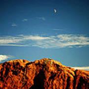 Moon Over Red Rocks Garden Of The Gods Poster