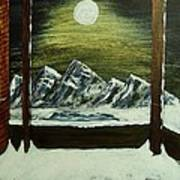 Moon Over The Mountains Poster