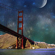 Moonrise Over The Golden Gate Poster
