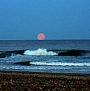 Moonrise Rexham Beach Poster by Malcolm Lorente