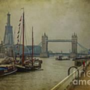 Moored Thames Barges. Poster