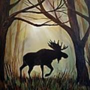 Morning Meandering Moose Poster