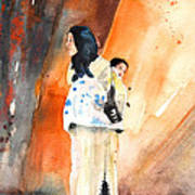 Moroccan Woman Carrying Baby Poster
