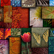 Mosaic Earth Tone Nature Rough Patterns Poster