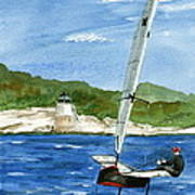 Moth Sailing At Castle Hill Light Poster
