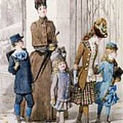 Mother And Children In Walking Dress  Poster