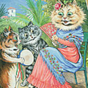 Mother Cat With Fan And Two Kittens Poster