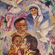 Mother Theresa And Michael Jackson For The Lost Children Poster by Jocelyne Beatrice Ruchonnet
