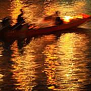 Motion Blur Photo Of Bangkok Local Speed Boat On Chao Phra Ya Ri Poster