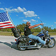 Motorcycle And Flag Poster