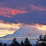 Mount Rainier Shrouded In Clouds Poster