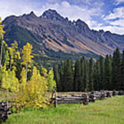 Mount Sneffels And Fence Poster