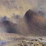 Mount Snowdon Through Clearing Clouds Poster