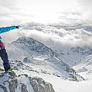 Mountain Guide Snowboard Instructor Pointing Out Peaks In Davos Poster